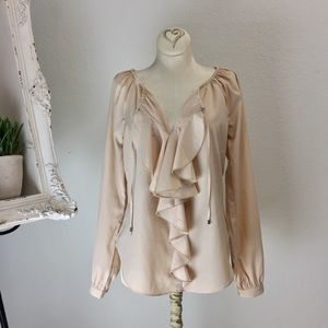 Venus neutral feminine ruffle front blouse sz 2